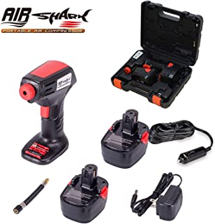 Portable Air Compressor Battery Tire Inflator Cordless Car Pump For Bicycle Ball Car, Deluxe Carry Case, Digital LCD Pressure Gauge, Auto Shut Off, Battery Charger, Car Adapter, 3 Nozzle Adapters