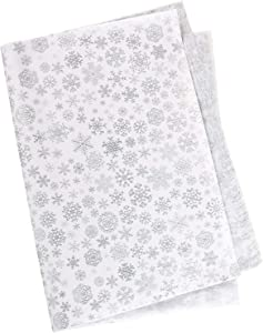 """Whaline Snowflake Tissue Paper 20"""" x 28"""" Christmas Metallic Acid Free Wrapping Paper Bulk Big Size for Home, DIY and Craft, Gift Bags New Year Decorations, 60 Sheets (Silver)"""