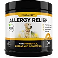 PetHonesty Allergy Relief Immunity Supplement for Dogs - Omega 3 Salmon Fish Oil, Colostrum,…