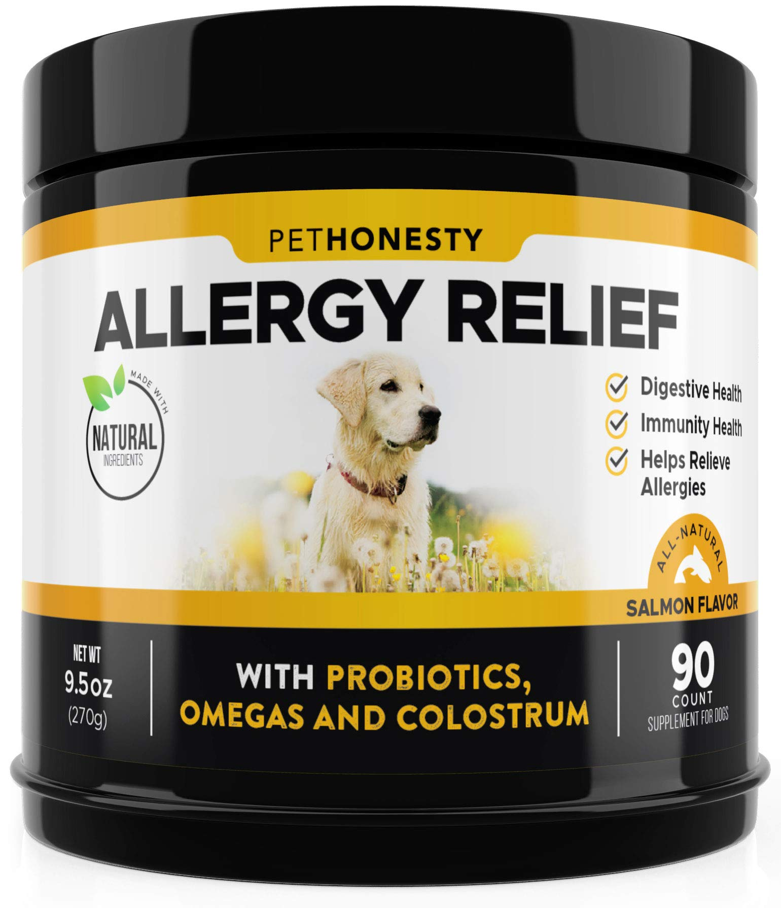 PetHonesty Allergy Relief Immunity Supplement for Dogs - Omega 3 Salmon Fish Oil, Colostrum, Digestive Prebiotics & Probiotics - for Seasonal Allergies + Anti Itch, Skin Hot Spots Soft Chews by PetHonesty
