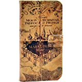 Hogwarts Marauder's Map Vintage Old Pattern Slim Wallet Card Flip Stand Leather Pouch Case Cover For Apple iphone 5C