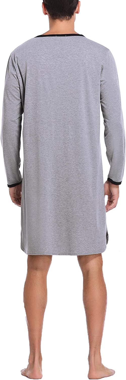 Pigiama da Notte Monopezzo Vestaglia Uomo Morbida Sykooria Camicia da Notte da Uomo di Cotone Girocollo Manica Disponibili Maniche Lunghe e Corte