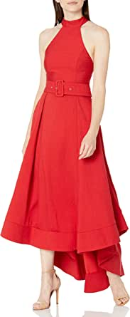 C/MEO COLLECTIVE Women's Confirmative Halter High Low Fit and Flare Party Dress