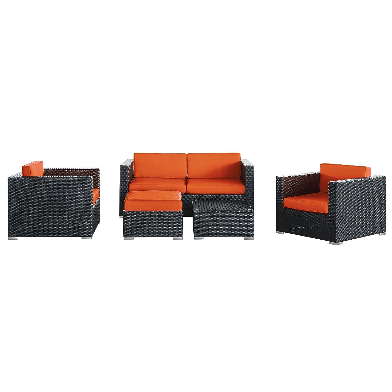 Amazon LexMod Malibu Outdoor Wicker Patio 5 Piece Sofa Set