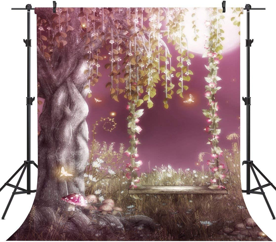 GoEoo 10X10FT Swing in The Fairy Tale Seamless Vinyl Photography Backdrop Photo Background Studio Prop TP13
