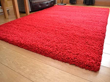 S SuperRugStore Shaggy Thick Modern Luxurious Bright Red Rug High Pile Long  Soft Anti Shedding