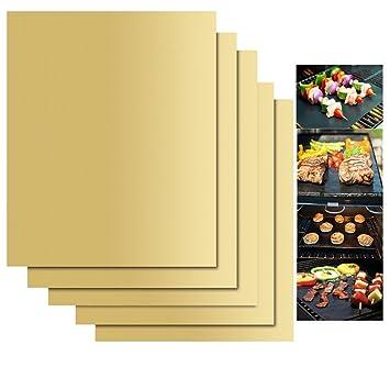 KINGCOO Juego de 5 Alfombrillas de Cocina, Parrilla para Barbacoa, Reutilizables, antiadherentes,