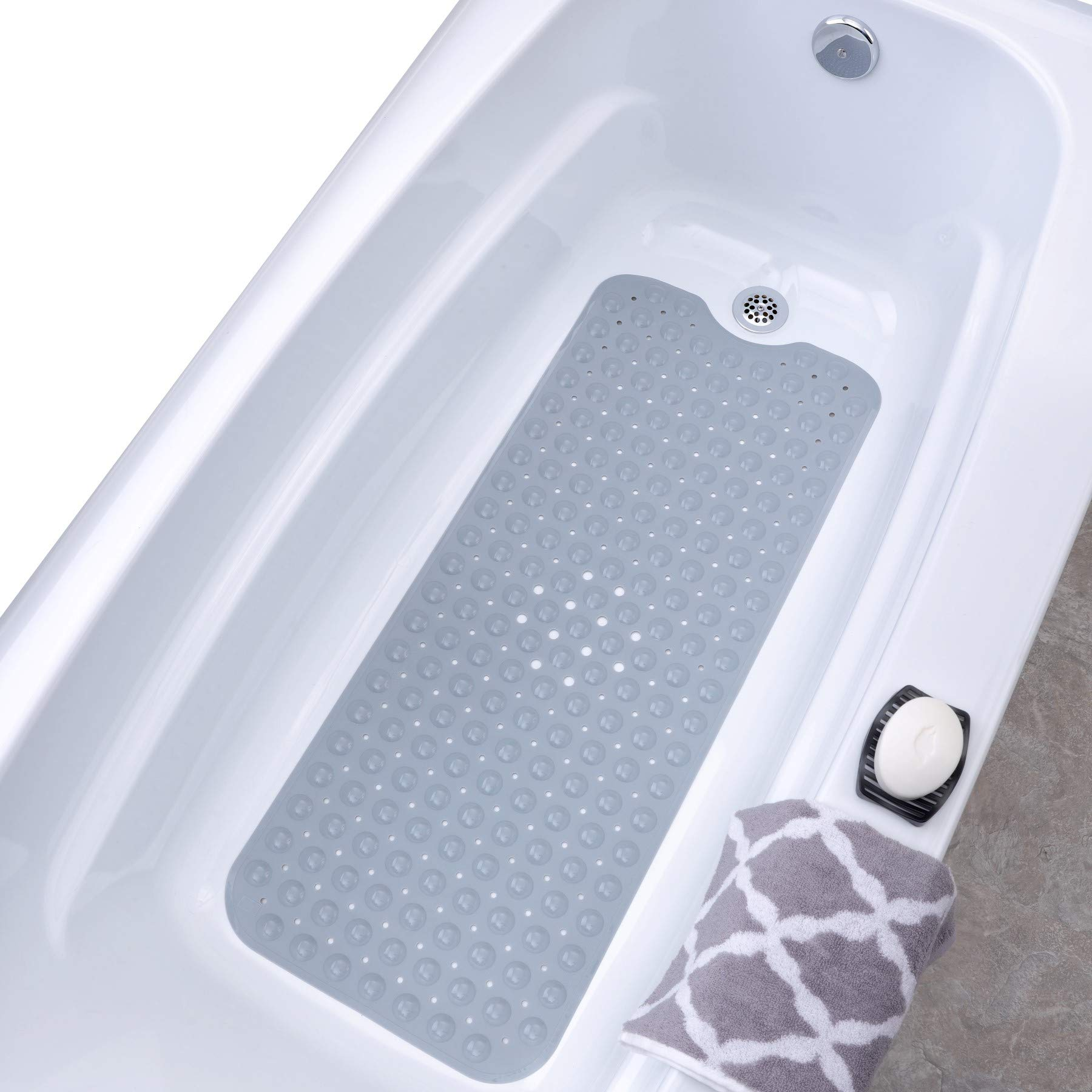 SlipX Solutions Gray Extra Long Bath Mat Adds Non-Slip Traction to Tubs & Showers - 30% Longer Than Standard Mats! (200 Suction Cups, 39'' Long Bathtub Mat)