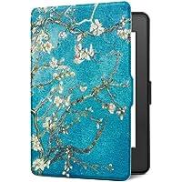 Funda para Kindle Paperwhite, Cubierta de cuero de la PU para Kindle Paperwhite (arbol y flor)