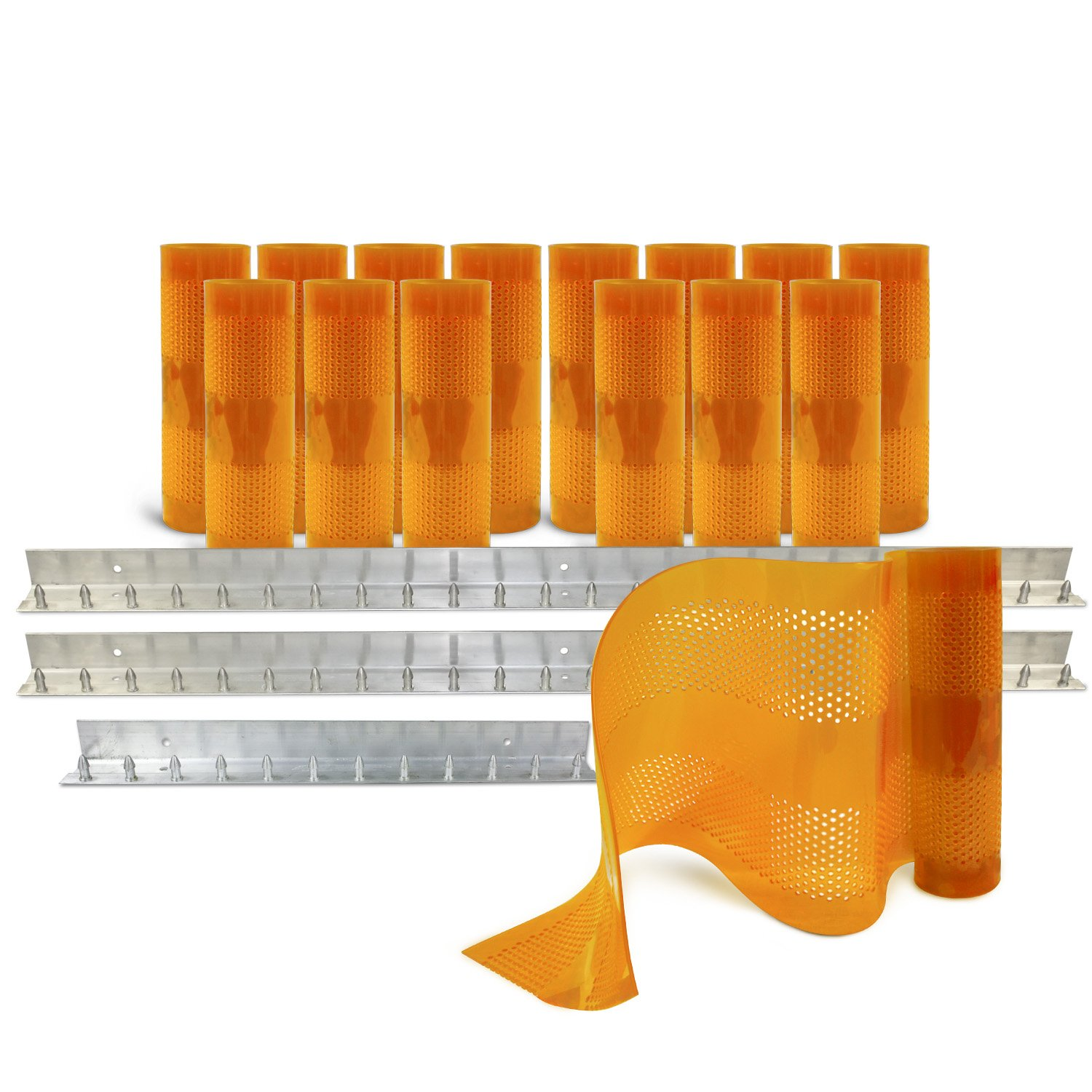 Aleco 443630 Clear-Flex II Standard AirStream Perforated PVC Strip Door Kit with MaxBullet Aluminum Mounting Hardware, 12'' Width x 120'' Height x 0.12'' Thick, Amber