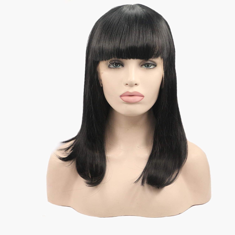Lunghezza della spalla 14 pollici Capelli neri per Cosplay Partito Bob Brevi celebrità acconciature parrucche anteriori del merletto per le donne parrucca piena di ricambio resistente al calore