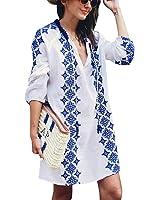 Jeasona Women's Bathing Suits Cover Up Beach Bikini Swimwear Embroidered Top (White, M)