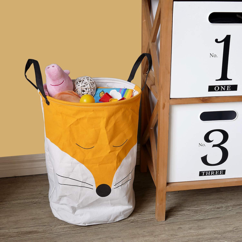 NIKKY HOME Spielzeug Aufbewahrungskorb mit Griff f/ür Kinderzimmer Organisator Fuchs Design Inneneinrichtung 35 x 35 x 50 cm