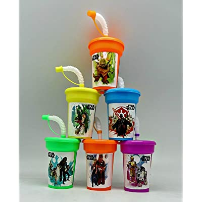 6 Star Wars Yoda, Darth Vader, Chewbacca Stickers Birthday Sipper Cups with lids Party Favor Cup: Toys & Games