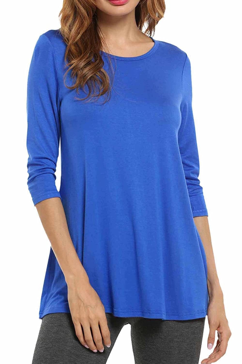 HOTOUCH Women Casual Tees T-Shirt Flowy Soft Comfy Loose Fit Plus Size Tunic Tops AMH005000