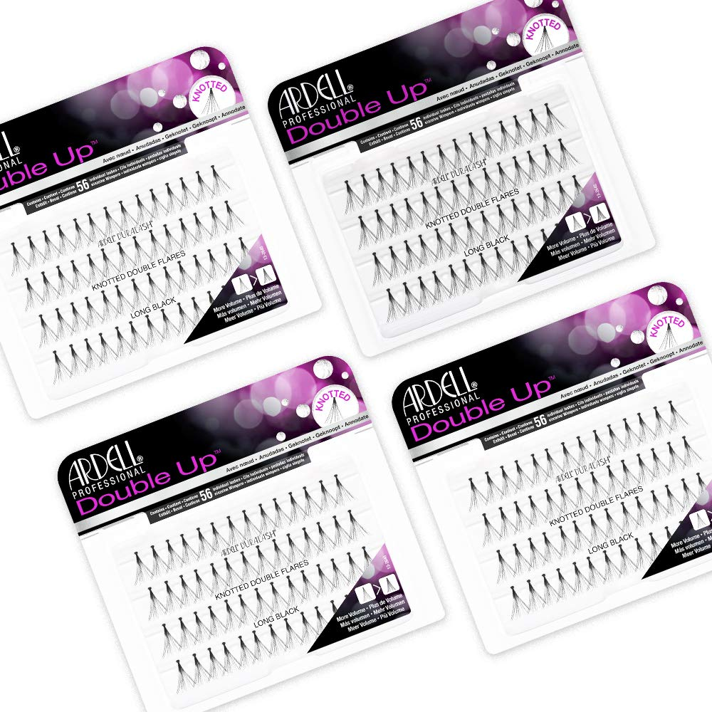 Ardell False Eyelashes Double Up Individuals Knotted Long Black 4 Pack