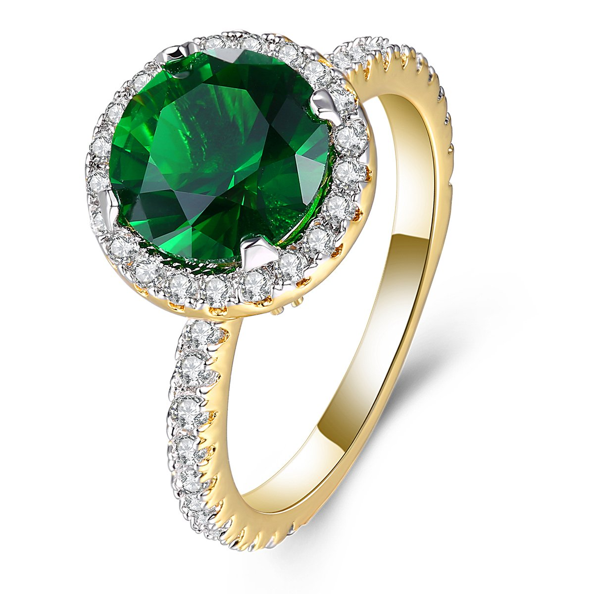 Lady's Rings AAA Cubic Zirconia Gold Rhodium Plated Ring Exquisite Dainty Elegant Jewelry Mother 's Day Gift Size 5-10 Jiangyue JWZ2324_Green