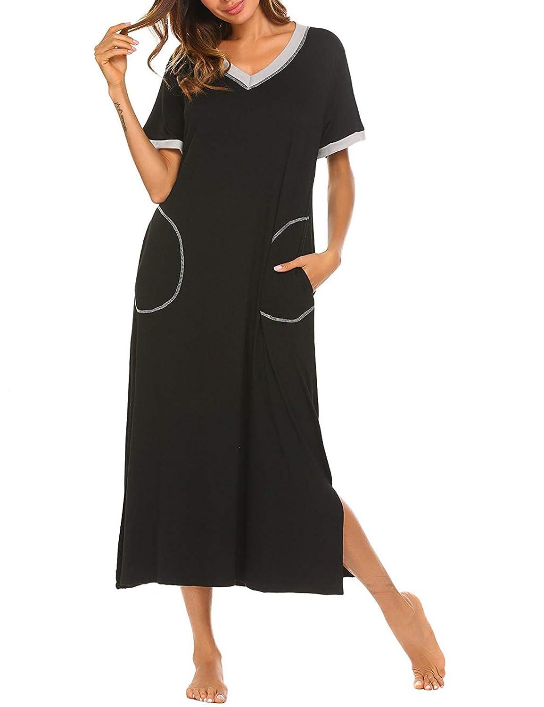 95f9500b7 LOMON Long Nightgown Womens Cotton Knit Short Sleeve Nightshirt with ...