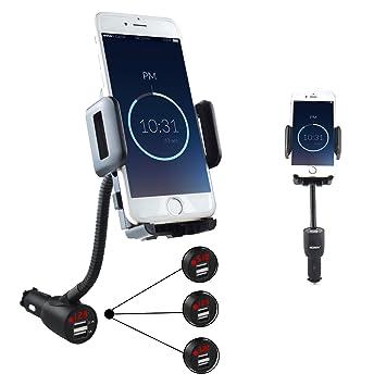 SOAIY® Mezcla entre soporte smartphone y cargador de coche y detector de voltaje, con Pantalla LED y dos 3.1A toma, para iPhone 6s 6 más 5s Samsung S5 ...