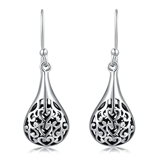 74a0bc07f Image Unavailable. Image not available for. Color: MBLife 925 Sterling  Silver Oxidized Filigree Heart Drop Shaped Dangle Earrings