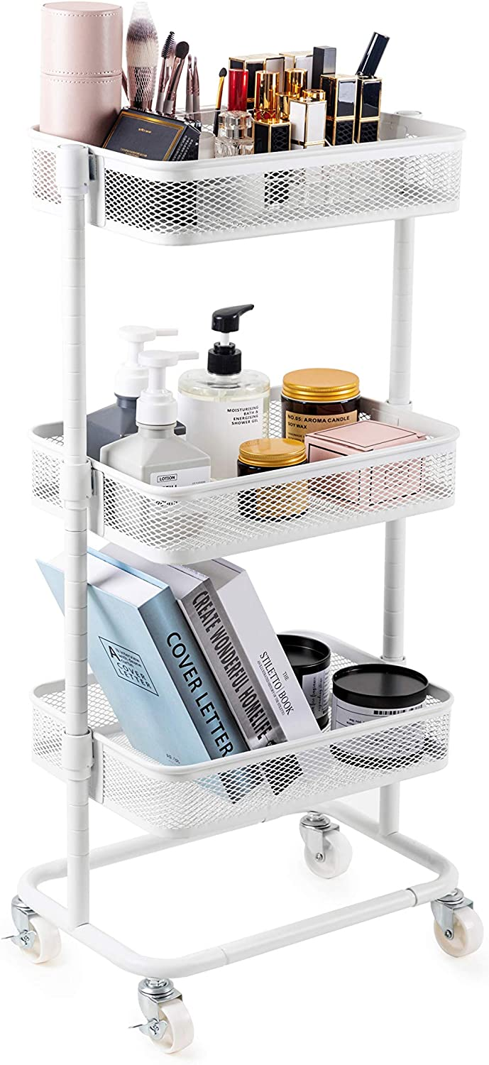 Nxconsu Rolling Cart Metal Utility Cart 3 Tier Enhanced Wheels Storage Trolley for Makeup Kitchen Party Bedroom Bathroom Office Room Book Spice Service Heavy Duty Adjustable Shelves Organizer White