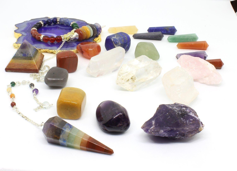 Chakra Stones and Crystal Set (24 pcs) Healing Kit - Lot of 7 Chakra tumbles - Chakra Pendulum - Amethyst Cluster - Raw Rose Quartz- and Crystal Point - Bohemian Meditation Set