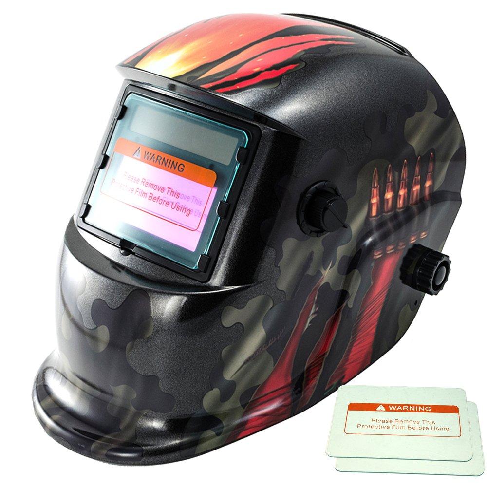 iMeshbean Military Green Design Solar Powered Welding Helmet Auto Darkening Hood with Adjustable Shade Range 4/9-13 for Mig Tig Arc Welder Mask with Backup Replaceable Batter