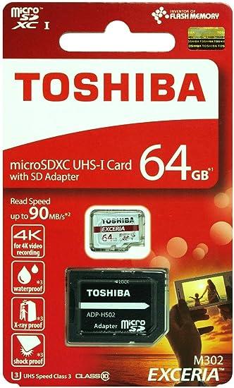 Toshiba 64GB M203 clase 10 Micro SDHC UHS-I tarjeta de memoria U1 con adaptador de tarjeta SD