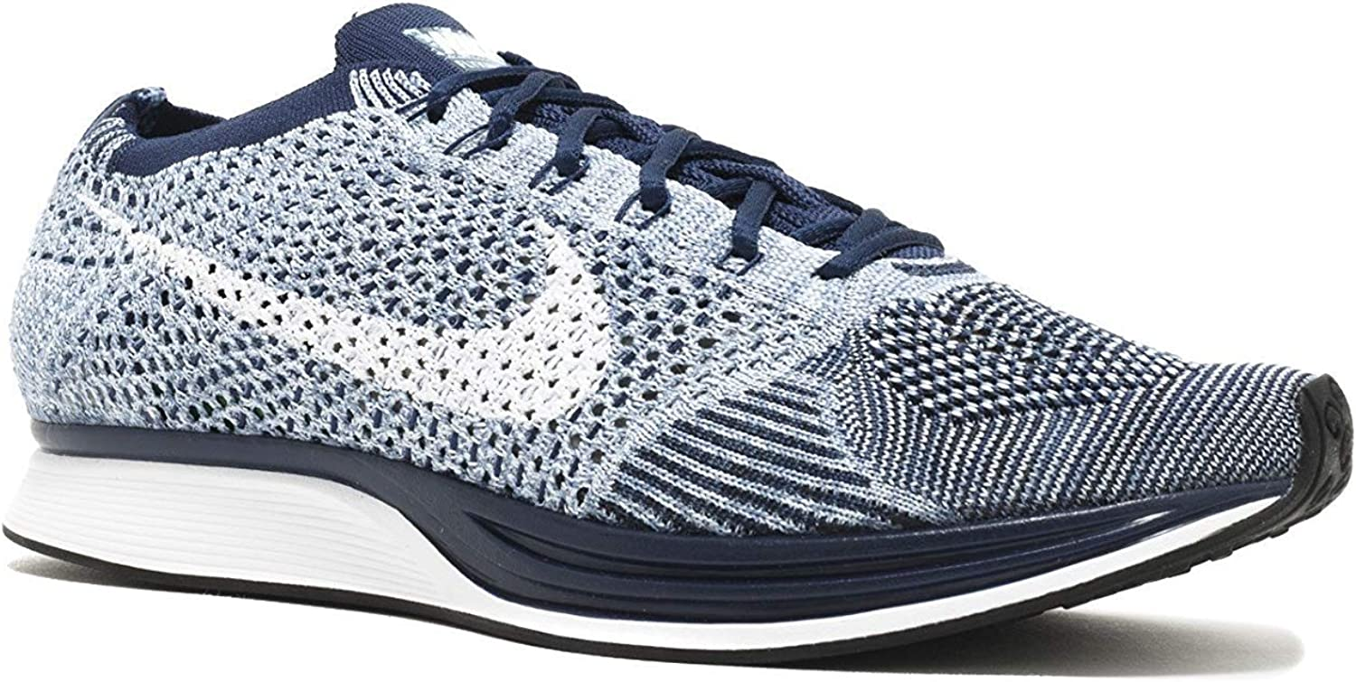 Nike Womens Flyknit Racer Fabric Low Top Lace Up Running Sneaker Blue Tint White 401