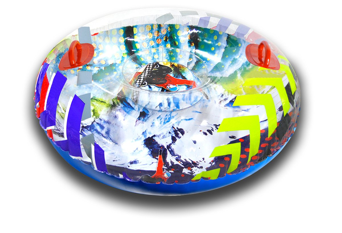 Aqua Leisure Winter Inflatable Round Snow Tube Transparent Sled for 1 ( one ) Single Rider on Sledding Hill, Fast yet Safe, with 2 ( Two ) Big Durable Grip Handles and Repair Kit, 48''