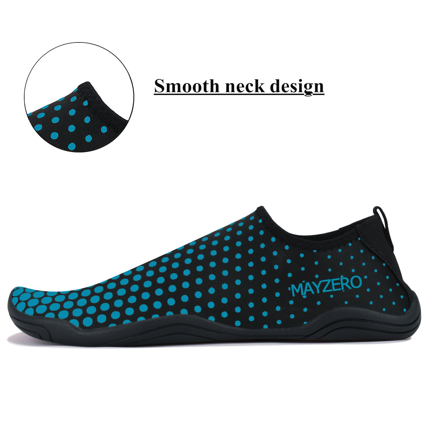 WXDZ Men Women Water Sports Shoes Quick Dry Barefoot Aqua Socks Swim Shoes for Pool Beach Walking Running (10.5 US Women/9 US Men, Dot-Blue) by WXDZ (Image #3)