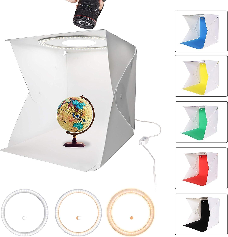 QYXINC Photo Studio Light Box,Ring Light Box with 128 LED,Portable Folding Photo Studio Box with 6 Color Photography Backdrop,33cm Shooting Tent with White Light Warm Light