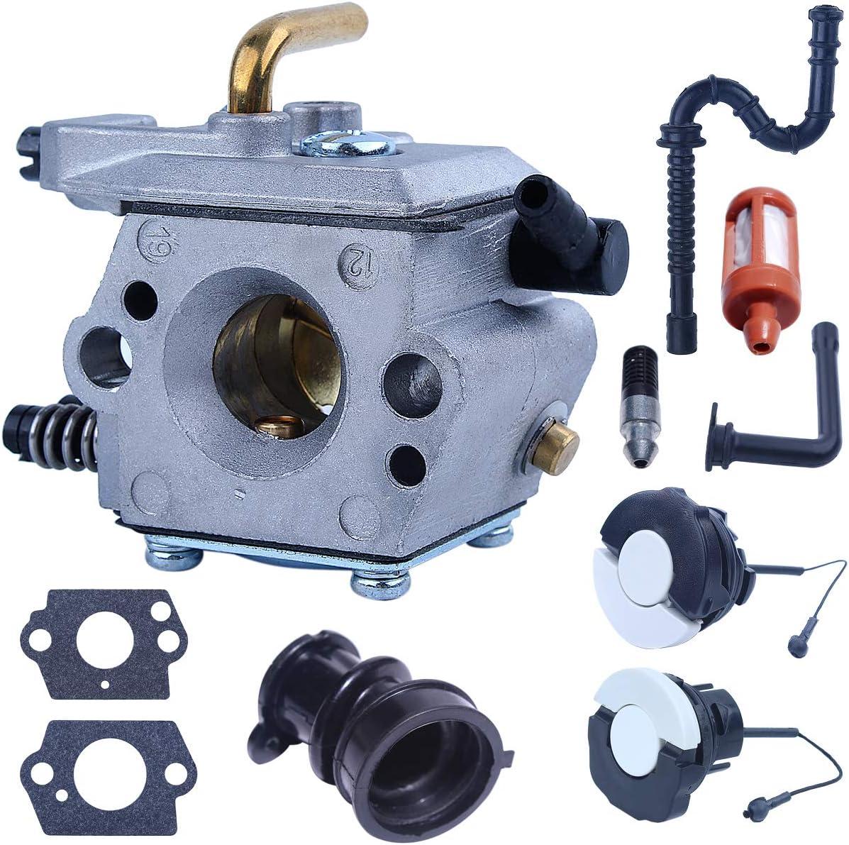 Mtanlo Carburateur WT-194 M/étal pour Stihl 024 026 MS240 MS260 MS240 260 Walbro WT-194 1121 120 0611 avec Bouchons de R/éservoir dEssence Admission de Carburateur Tube dHuile Filtre /à Carburant