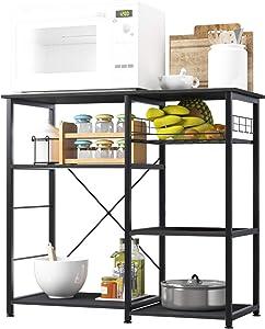 SDHYL Microwave Oven Rack, Storage Shelf, Kitchen Baker's Rack, Storage Cart for Kitchen, Black, S7-WK-W5S-BK-US