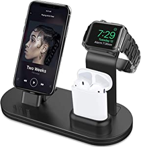 OLEBR 3 in 1 Charging Stand Compatible with iWatch Series 5/4/3/2/1, AirPods and iPhone 11/Xs/X Max/XR/X/8/8Plus/7/7 Plus /6S /6S Plus(Original Charger & Cables Required) Black