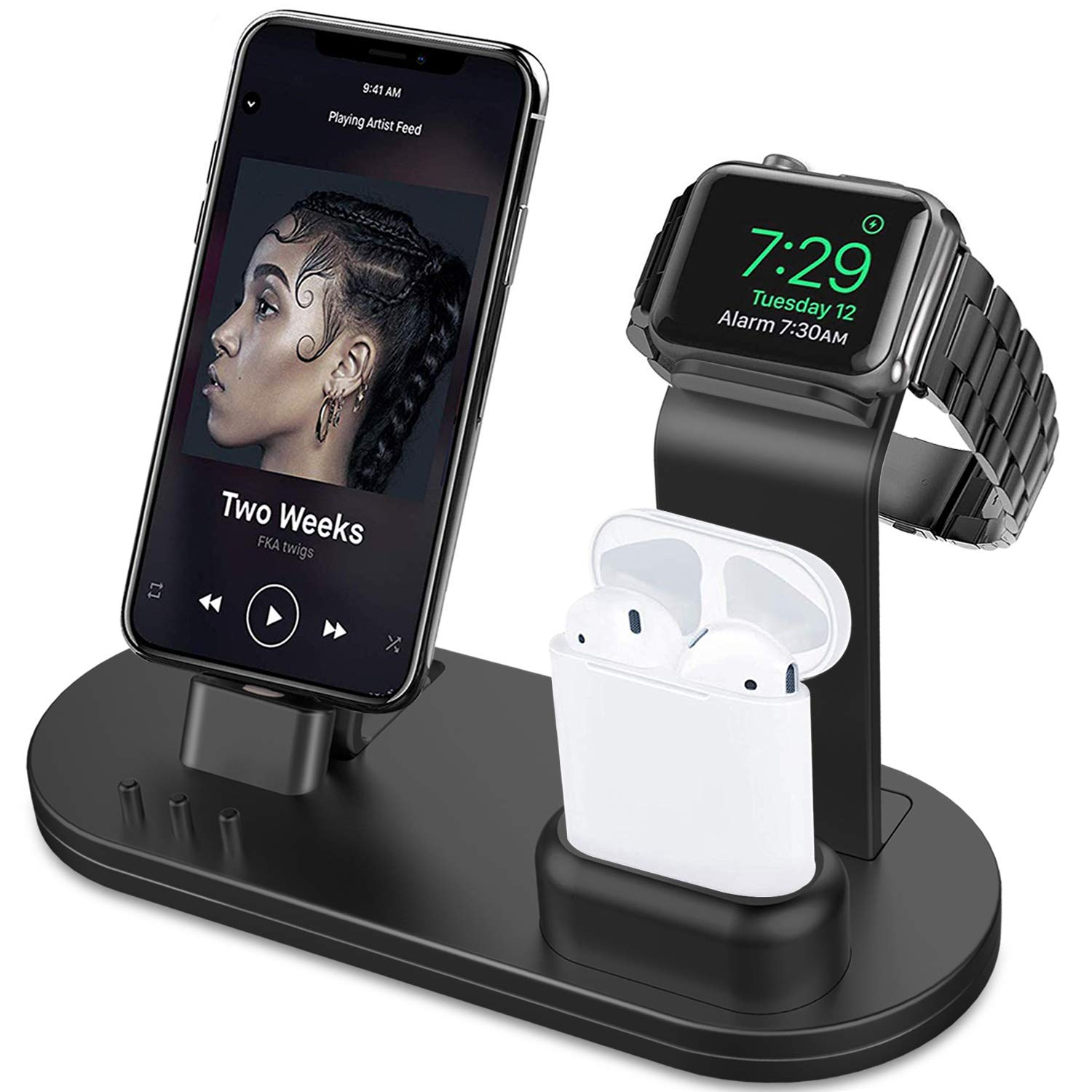OLEBR 3 in 1 Charging Stand Compatible with iWatch Series 5/4/3/2/1, AirPods and iPhone Xs/X Max/XR/X/8/8Plus/7/7 Plus /6S /6S Plus/9.7 inches iPad (Original Charger & Cables Required) -Black by OLEBR