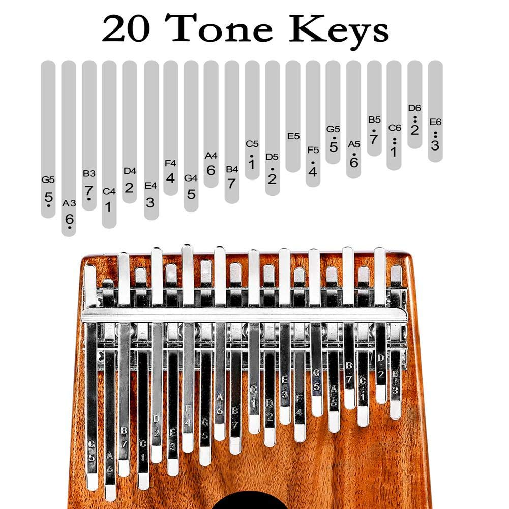 Summeishop Thumb Piano,Muspor Kalimba 20 Keys Acacia (Koa) Double Layer Thumb Piano Mbira with Case,Handmade with Acacia(koa) Wood and ore Metal tines masterwork by Summeishop