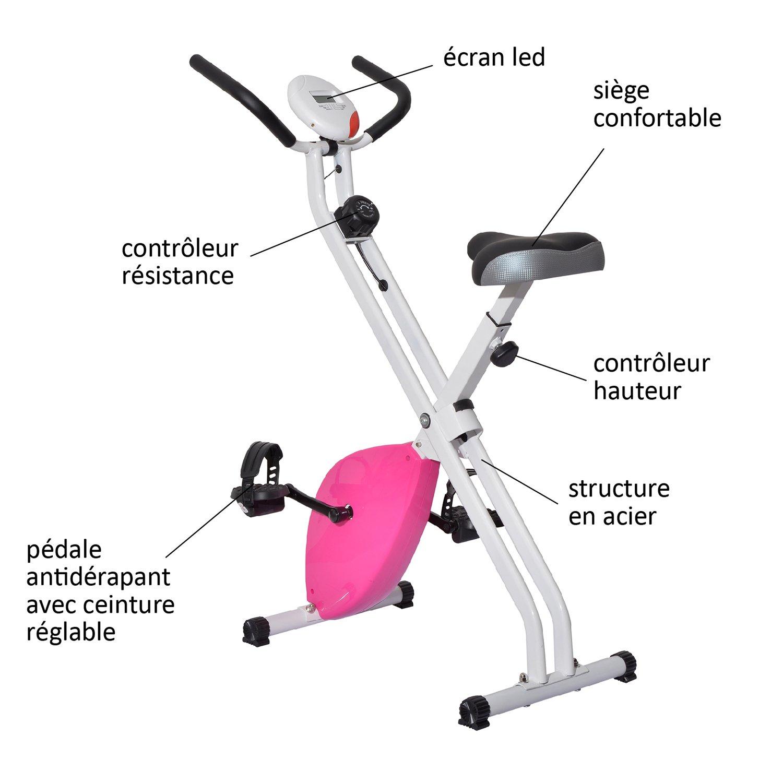 HOMCOM - Bicicleta estática Plegable, magnética, Estructura de ...