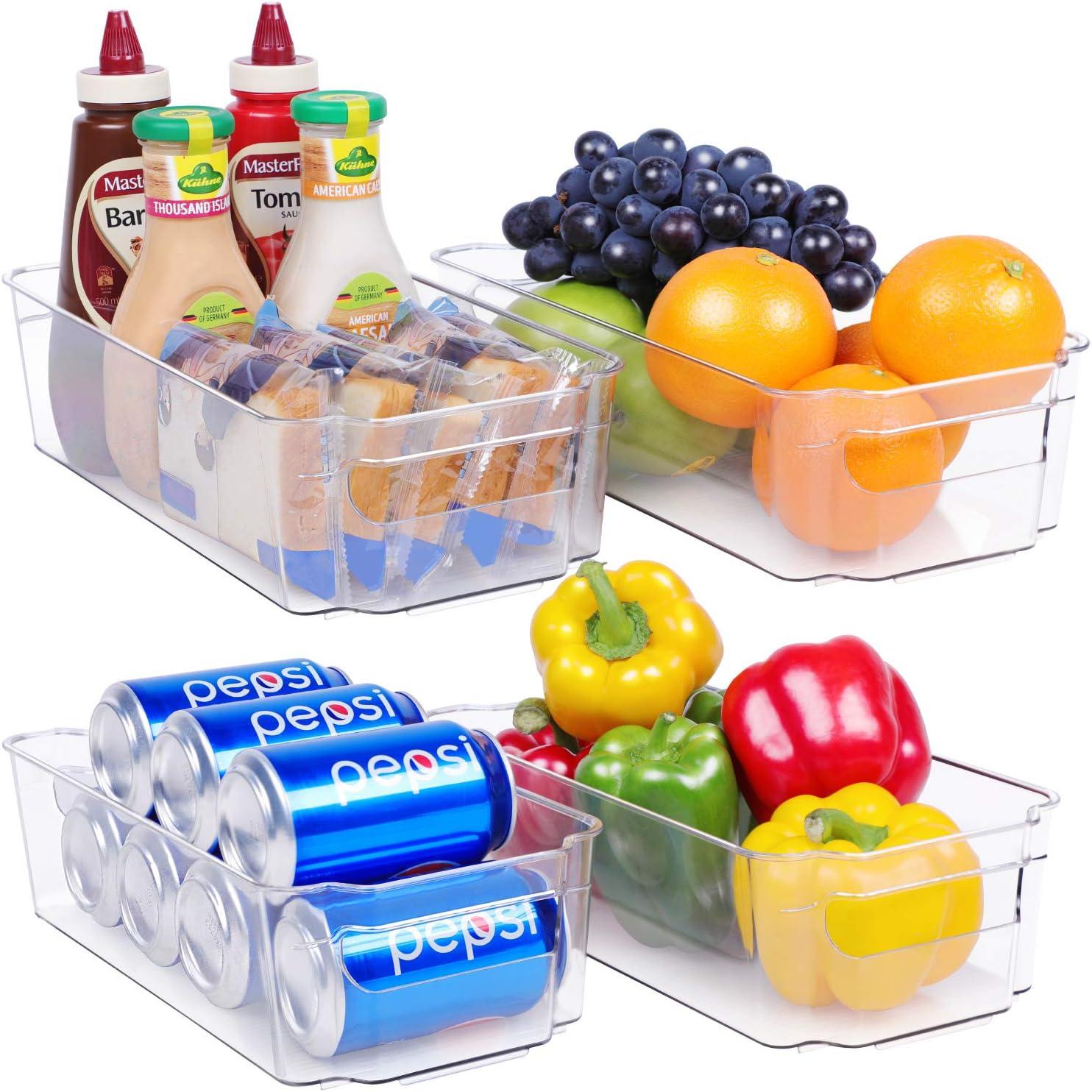 Plastic Refrigerator Organizer Bin - 4 Piece Stackable Fridge Organizer Bins for Pantry, Kitchen and Freezer Organizer, BPA-Free Clear Refrigerator Storage Bins