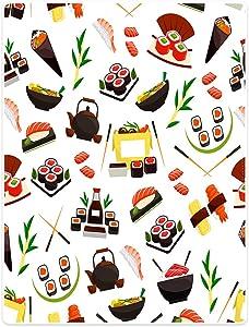 SXCHEN Blankets Plush Sofa Bed Throw Blanket Food Japanese Sushi Teapot Tempura Salmon 60 x 80 inch