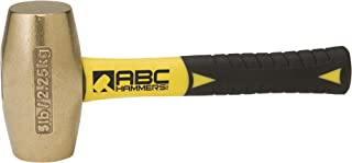 product image for ABC Hammers ABC5BFS Brass Hammer with 8-Inch Fiberglass Handle, 5-Pound
