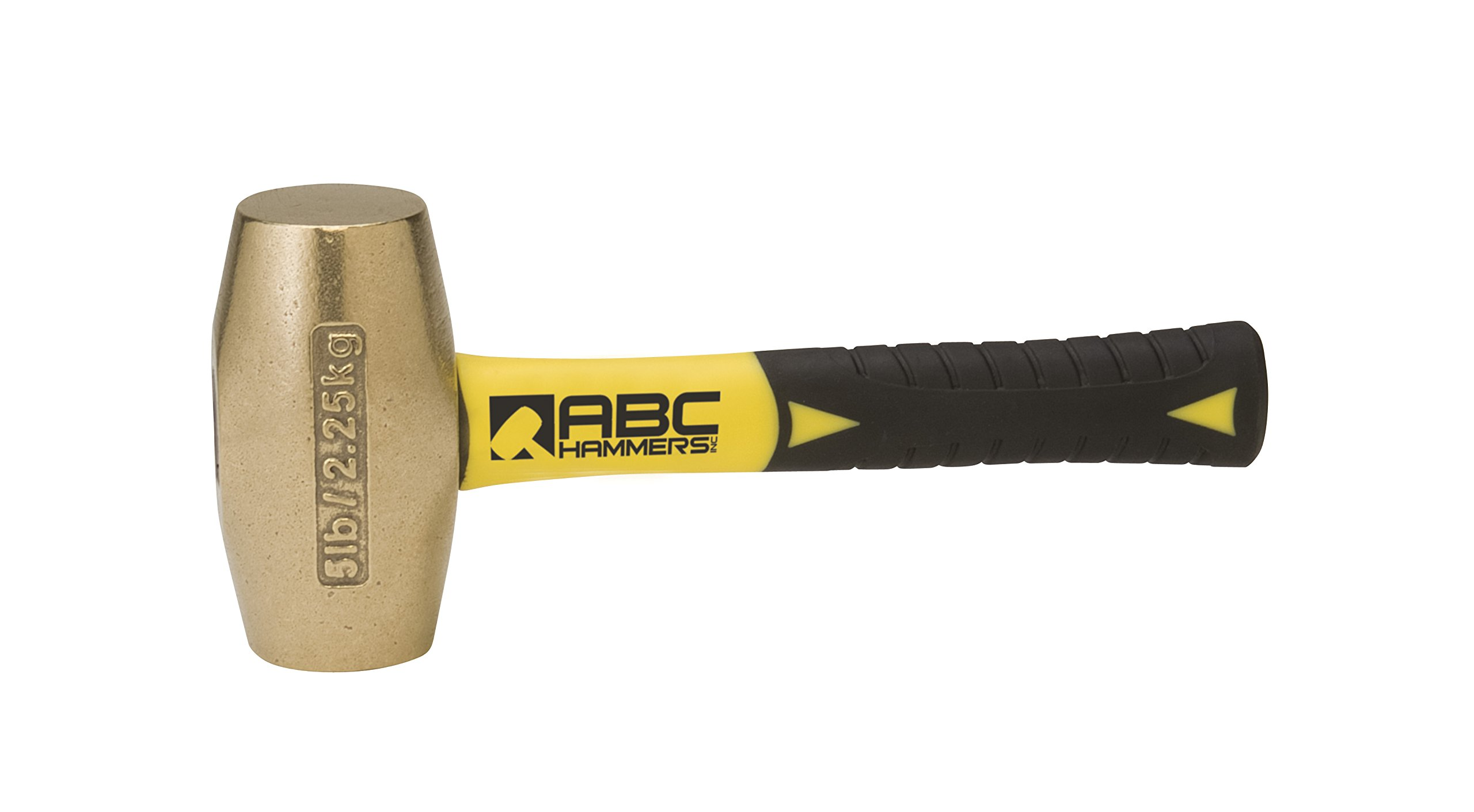 ABC Hammers ABC5BFS Brass Hammer with 8-Inch Fiberglass Handle, 5-Pound