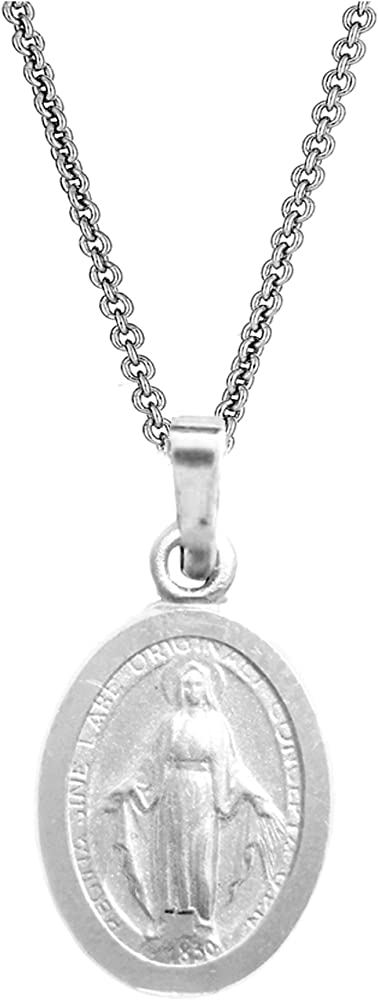 Very Tiny Sterling Silver Guadalupe Medal Necklace 5//8 inch Oval Italy 0.8mm Chain