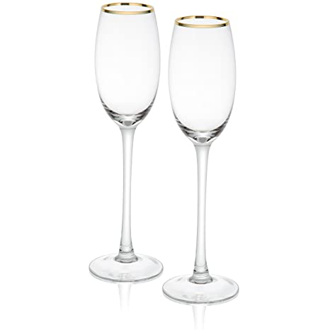 amazon com trinkware empire gold rimmed set of 2 champagne flutes