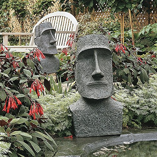 Design Toscano Easter Island Ahu Akivi Moai Monolith Garden Statue, Large 24 Inch, Polyresin, Grey Stone -