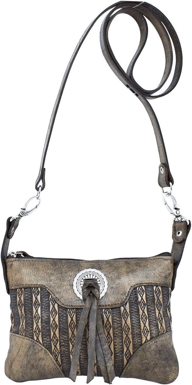 American West Basket Weave Leather Trail Rider Crossbody//Hip Bag