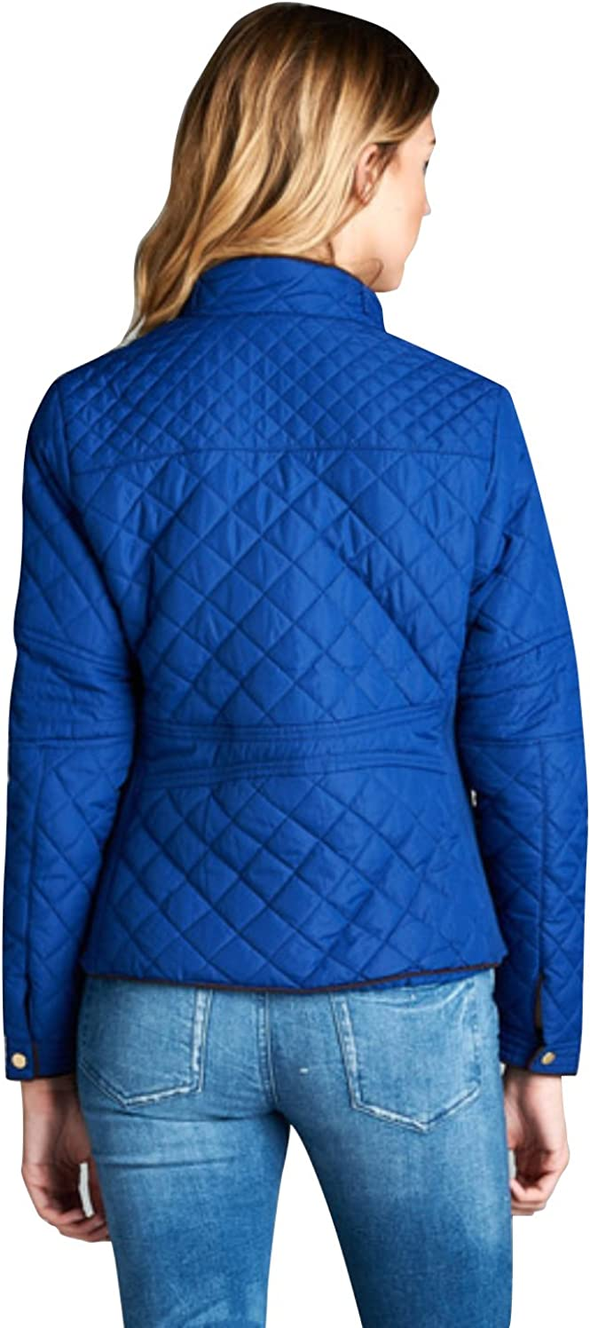 S-3XL makeitmint Womens Solid Long Sleeve Quilted Padding Zip Up Jacket
