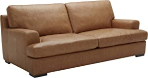 Amazon Brand – Stone & Beam Lauren Down-Filled Oversized Leather Sofa Couch with Hardwood Frame, 89