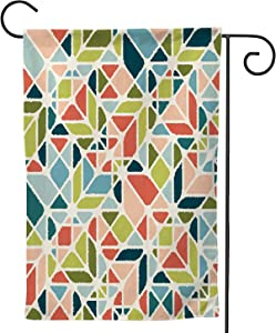 Abstract Geometric Seamless Pattern in mid-Century Modern Colors,Welcome Garden Flag Garden Yard Banner Lawn Outdoor Decoration with Texture 12.5''x18''