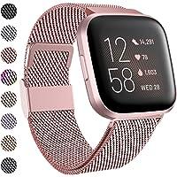 Funbiz Compatibel met Fitbit Versa Bandje/Versa 2 Bandje, Metalen Roestvrijstalen Vervangingsbanden met Uniek Slot voor…